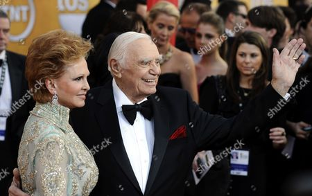 Us Actor Ernest Borgnine (r) Waves As He Arrives with His Wife Tova Traesnaes (l) For the 17th Annual Screen Actors Guild Awards Held at Shrine Auditorium in Los Angeles California Usa 30 January 2011 United States Los Angeles