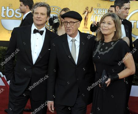 British Actor Colin Firth (l) and Australian Actor Geoffrey Rush (c) and His Wife Jane Menelaus (r) Arrive For the 17th Annual Screen Actors Guild Awards Held at Shrine Auditorium in Los Angeles California Usa 30 January 2011 United States Los Angeles