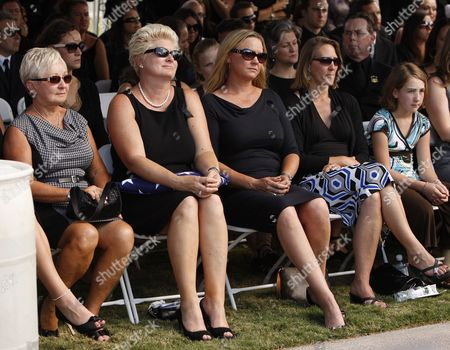 Stock Image of Jill Vandenberg (2-l) and Family Pay Their Final Respects at Services For Her Husband American Film Actor Tony Curtis During His Memorial at Palm Mortuary in Las Vegas Usa 04 October 2010 the 85 Year Old Curtis Died at His Home of Cardiac Arrest on 29 September 2010 United States Henderson