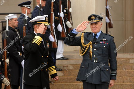 Us Chairman of the Joint Chiefs of Staff Admiral Michael Mullen (l) Hosts an Honors Ceremony to Welcome Air Chief Marshal Sir Jock Stirrup (r) Chief of the Defence Staff of the United Kingdom to the Pentagon in Arlington Virginia Outside Washington Dc Usa 04 October 2010 United States Arlington