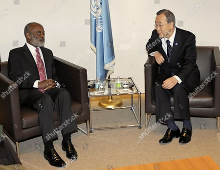 Stock Photo of United Nations Secretary General Ban Ki-moon (r) Meets with Outgoing President of Haiti Rene Garcia Preval at United Nations Headquarters in New York Usa 06 April 2011 the Singer Michel Martelly Known As Sweet Micky Won 68 Percent of the Vote in a Runoff Election and if Results Hold Will Take Office in May 2011 United States New York