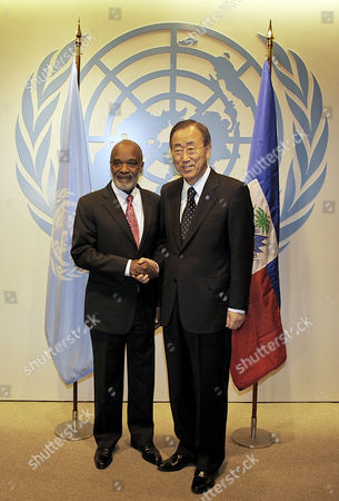 United Nations Secretary-general Ban Ki-moon (r) Shakes Hands with Outgoing President of Haiti Rene Garcia Preval at United Nations Headquarters in New York Usa 06 April 2011 the Singer Michel Martelly Known As Sweet Micky Won 68 Percent of the Vote in a Runoff Election and if Results Hold Will Take Office in May 2011 United States New York