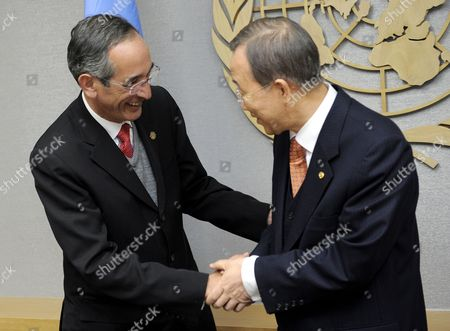 Alvaro Colom Caballeros (l) President of Guatemala Shakes Hands with United Nations Secretary General Ban Ki-moon (r) at the Start of a Meeting at United Nations Headquarters in New York New York Usa on 17 February 2010 United States New York
