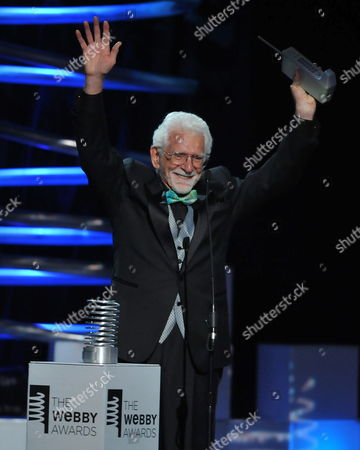 Inventor of the Mobile Phone Martin Cooper Accepts His Award For Lifetime Achievement Onstage During the 15th Annual Webby Awards at Hammerstein Ballroom in New York City Usa on 13 June 2011 United States New York