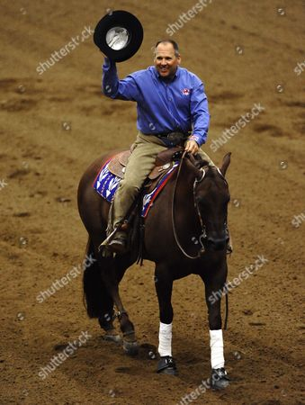 Don Julio Whiz Ridden by Doug Allen From Great Britain Tips His Hat After Competing in the Individual Final Reining Championship at the World Equestrian Games in Lexington Kentucky Usa 30 September 2010 the World Equestrian Games Are Being Held Outside of Europe For the First Time United States Lexington