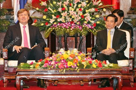 Stock Picture of Dutch Crown Prince Willem Alexander (l) and Vietnamese President Nguyen Minh Triet (r) Meet at the Presidential Palace in Hanoi Vietnam 28 March 2011 Crown Prince Willem-alexander and Princess Maxima Are in Vietnam For a Four-day Visit the Purpose of the Official Visit is to Strengthen Trade Relations Between the Netherlands and Vietnam Viet Nam Hanoi