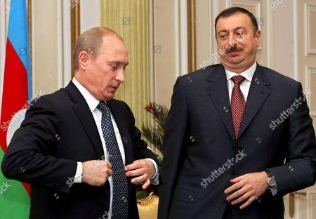 Russian President Vladimir Putin and Azerbaijan President Ilkham Aliev During Their Meeting in the Azerbaijani Capital Baku Wednesday 22 February 2006