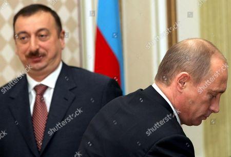 Russian President Vladimir Putin (r) and Azerbaijan President Ilkham Aliev During Their Meeting in the Azerbaijani Capital Baku Wednesday 22 February 2006