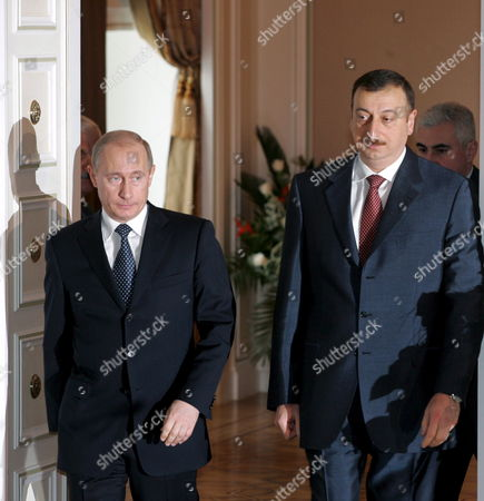 Russian President Vladimir Putin (l) and Azerbaijan President Ilkham Aliev During Their Meeting in the Azerbaijani Capital Baku Wednesday 22 February 2006