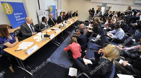 Bereaved Family Members of 7/7 Bombings (l-r) Ross Morely John Taylor Marie Fatayi- Williams Graham Foulkes Clifford Tibber Esther Hyman Graham Russell and Nader Hozakka Attend a Press Conference in London Britain 06 May 2011 Delays in the Emergency Services' Response to the 7/7 London Bombings Did not Cause the Death of Any of the 52 People Killed the Coroner Said 06 May But in Concluding the Inquests Into the Deaths Lady Justice Hallett Criticised Lapses in the Actions of the Emergency Services and of Mi5 She Also Formally Ruled That the Victims Had Been Unlawfully Killed More Than 700 People Were Injured in the Four Suicide Attacks in 2005 United Kingdom London