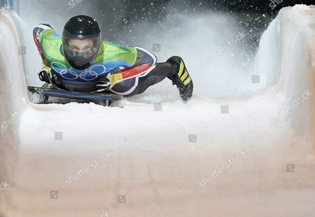 Germany's Michi Halilovic Brakes in the Finish Area in Heat 1 During the Skeleton Competition in the Whistler Sliding Center at the Xxi Olympic Winter Games in Whistler Near Vancouver British Columbia Canada 18 February 2010 Canada Whistler