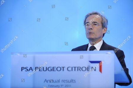 Stock Picture of French Auto Group Psa Peugeot Citroen Finance and Development Head Frederic Saint-geours Gives a Press Conference to Present the Company's 2010 Financial Results in Paris France on 09 February 2011 Psa Peugeot Citroen Said That It Had Earned 1 13 Million Euros in Net Profit in 2010 Following Two Years of Losses France Paris