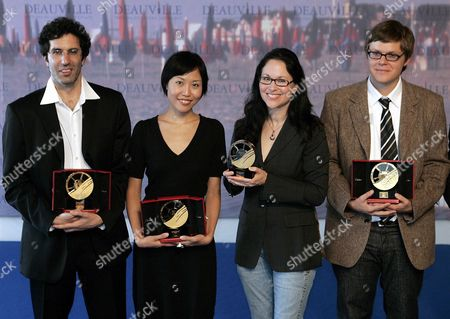 (l-r) Us Directors: Jeffrey Blitz Received the Cartier Revelation Prize Karen Moncrieff Received the Grand Prize Gina Kim Received the Jury's Prize and James Trousse Received the Best Documentary Canal Plus Prize in a Photocall at the 33rd American Film Festival of Deauville in Deauville France 09 September 2007