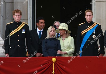 Prince Harry, Gary Lewis and his wife Lady Davina Windsor, Duke and Duchess of Gloucester and Prince William