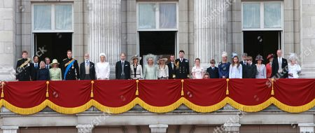 Prince Harry, Gary Lewis and his wife Lady Davina Windsor, Duke and Duchess of Gloucester, Prince William, Prince and Princess Michael of Kent, Prince Edward, Sophie Countess of Wessex, Camilla Duchess of Cornwall, Autumn Phillips, Peter Phillips, Tim Laurence, Lady Amelia Windsor (daughter of Earl of St. Andrews), Estella Taylor, Cassius Taylor, Lady Helen Taylor, Lady Marina Windsor (daughter of Earl of St. Andrews) Tim Taylor, Columbus Taylor, Sylvana Tomaselli, Princess Alexandra, Earl of St. Andrews and the Duchess of Kent