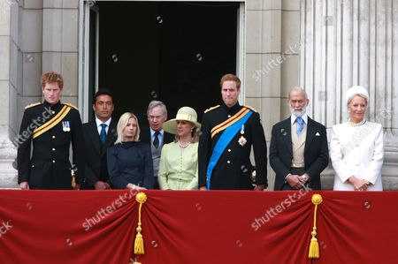 Prince Harry, Gary Lewis and his wife Lady Davina Windsor, Duke and Duchess of Gloucester, Prince William, Prince and Princess Michael of Kent