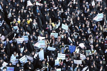 Thousands of Iranian Government Supporters Stage a Protest Demonstration Against Opposition Leaders on 18 February 2011 in Tehran Iran the Iranian Authorities Staged a Demonstration Against the Two Main Opposition Leaders More Than 200 Legislators Several Clerical Groups and Government Supporters Have Called For the Arrest and Execution of Mir-hossein Moussavi and Mehdi Karroubi For Allegedly Undermining the Islamic System and Collaborating with Foreigners Iran (islamic Republic Of) Tehran