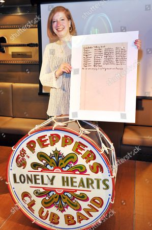 The Beatles' drumskin from the cover of Sgt. Pepper's Lonely Hearts Club Band (£100,000-£150,000) and Gail Renard who is selling John Lennon's lyrics for Give Peace a Chance