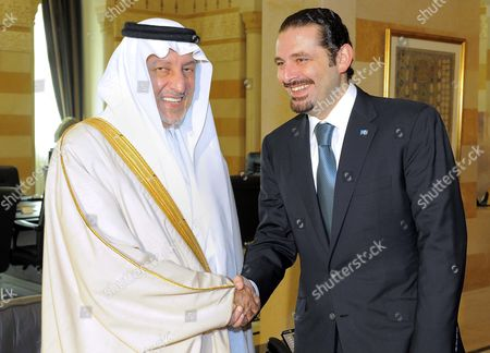Saudi Prince Khaled Al-faisal Bin Abdul Aziz Al-saud Governor of Mecca (l) Shakes Hands with Lebanese Prime Minister Saad Hariri (r) at the Government Palace in Beirut Lebanon 06 December 2010 Al-faisal in Beirut to Attends the Ninth Annual Conference to the Arab Thought Foundation's Fikr 9 on 08 and 09 December 2010 Lebanon Beirut