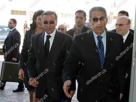 Lebanese Foreign Minister Ali El Shami (l) Welcomes the Secretary General of the Arab League Amr Moussa (r) Upon His Arrival at Rafiq Hariri International Airport in Beirut Lebanon 17 March 2010 Lebanese President Michel Suleiman and Prime Minister Saad Al-hariri Had Reject a Call by Libyan's President Mouaamar Gaddafi Sent to Lebanon Through the Lebanese Embassy in Damascus to Attend Arab Summit Lebanese President Michel Sleiman Will not Attend an Arab League Summit in Tripoli Due to a Row Over the Disappearance of Prominent Shia Cleric Mussa Al-sadr in Libya in 1978 Imam Mussa Al-sadr the Founder of the Amal Movement Went Missing with Two of His Companions Mohammed Yaqoub and Abbas Badreddin While on an Official Visit to Libya in August 1978 Lebanon Beirut