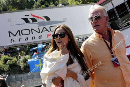 Jessica Michibata (l) of Japan Girlfriend of British Formula One Driver Jenson Button and John Button (r) the Driver's Father Walk Through the Pit Lane After First Practice Session at Monte Carlo Circuit in Monaco 13 May 2010 Monaco Grand Prix Will Take Place on 16 May on Sunday Monaco Monte Carlo