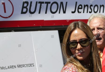 Jessica Michibata (l) of Japan; Girlfriend of British Formula One Driver Jenson Button; and John Button (r) Stand in Front of Team Garage After First Practice Session at Monte Carlo Circuit in Monaco 13 May 2010 Monaco Grand Prix Will Take Place on 16 May on Sunday Monaco Monte Carlo