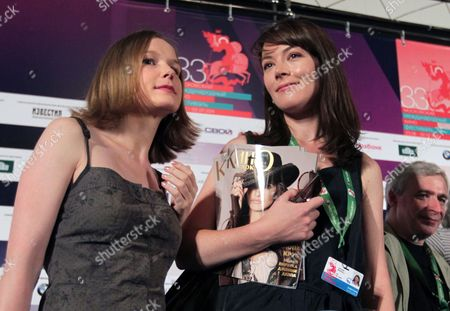 Russian Actress Nina Loshinina (l) and South African-born Actress Justine Waddell (r) Pose For the Media After a Press Conference For 'Mishen (target)' at the 33rd Moscow International Film Festival (miff) in Moscow Russia 26 June 2011 the Movie by Russian Director/writer Alexandre Zeldovich is Presented in the Section 'Gala Screenings' at the Film Festival That Runs From 23 June to 02 July Russian Federation Moscow