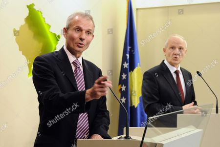 Britain's Minister For Europe David Lidington (l) and Kosovo's President Fatmir Sejdiu (r) Speak During a Press Conference in Pristina Kosovo on 24 June 2010 David Lidington Arrived in Kosovo on the 23 June Having Spent the Previous Day in Macedonia This is the Minister's First Visit to the Balkan Region Since His Appointment in May 2010 Serbia and Montenegro Pristina