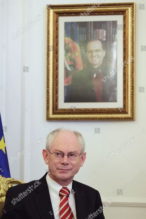 The President of the European Council Herman Van Rompuy Sits Under a Portrait of Kosovo's Late President Ibrahim Rugova As He Meets with Kosovo's President Fatmir Sejdiu (not in Picture) For Talks in Pristina Kosovo on 06 July 2010 Van Rompuy was Visiting Several Balkan Countries the Past Days Serbia and Montenegro Pristina