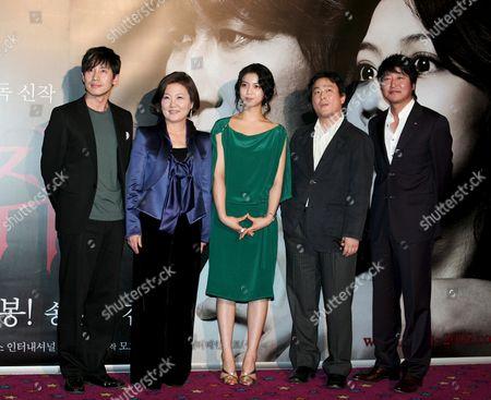 (l-r) South Korean Actor Shin Ha-kyun Actress Kim Hae-sook Actress Kim Ok-bin South Korea Director Park Chan-wook and Actor Song Kang-ho Attend the 'Thirst 2009' South Korea Premiere at Yongsan Cgv in Seoul South Korea 24 April 2009 the Film Will Open On April 30 in South Korea