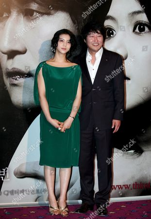 South Korean Actress Kim Ok-bin (l) and Actor Song Kang-ho Pose During 'Thirst 2009' South Korea Premiere at Yongsan Cgv in Seoul South Korea 24 April 2009 the Film Will Open On April 30 in South Korea
