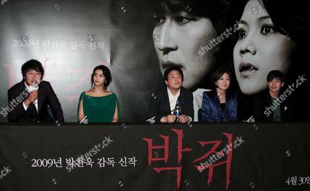 (l-r) South Korean Actor Song Kang-ho Actress Kim Ok-bin South Korean Director Park Chan-wook Actress Kim Hae-sook and Actor Shin Ha-kyun Attend the 'Thirst 2009' South Korea Premiere at Yongsan Cgv in Seoul South Korea 24 April 2009 the Film Will Open On April 30 in South Korea