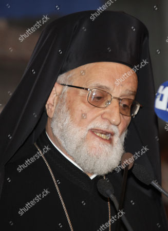Gregory Iii (laham) Patriarch of the Church of Antioch the Spiritual Leader of the Melkite Greek Catholic Church Speaks at the Opening of the Islamic-christian Fraternity Conference in Damascus Syria on 15 December 2010 the Conference Held by the Ministry of Islamic Endowment and the Syrian Churches in Syria Aims to Discuss the Importance of Islamic and Christian Fraternity and Unity in the Confrontation of Challenges and Dangers Threatening the Values and Principles of Heavenly Messages More Than 30 Countries Are Taking Part in the Conference Syrian Arab Republic Damascus