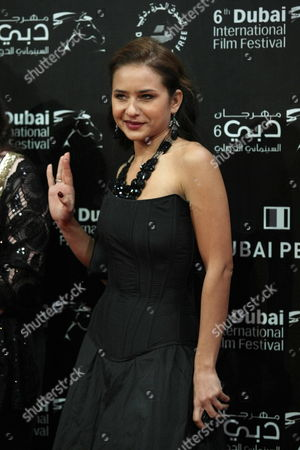 Egyptian Actress Nelly Karim Poses on the Red Carpet As She Arrives For the Opening Ceremony of the Sixth Dubai International Film Festival in Dubai United Arab Emirates 09 November 2009 the Festival Runs Until 16 December United Arab Emirates Dubai