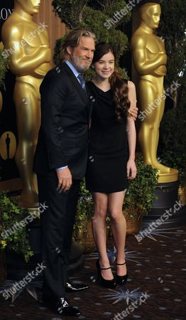 Stock Photo of Us Actor Jeff Bridges (l) Poses with His Co-star Hailee Steinfield (r) As They Arrive For the 83rd Academy Awards Nominees Luncheon in Beverly Hills California Usa 07 February 2011 Bridges is Nominated For Best Actor and Steinfield For Best Supporting Actress For Their Roles in 'True Grit' United States Beverly Hills