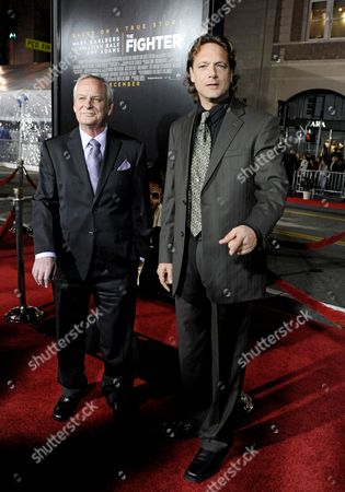Stock Image of Us Writers and Producers Eric Johnson (l) and Paul Tamasy (r) Arrive For the Premiere of the Movie 'The Fighter' in Hollywood California Usa Late 06 December 2010 'The Fighter' is Based on the True Story of a Struggling Journeyman Boxer who Spent His Life Living in the Shadow of His Brother United States Hollywood