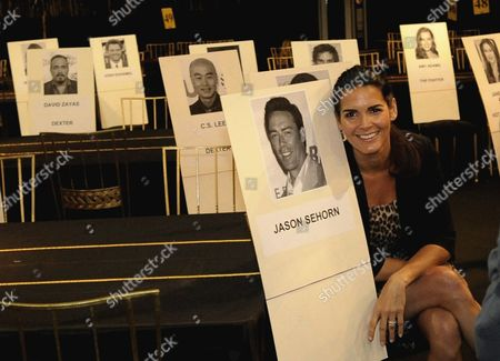 Us Actress Angie Harmon Poses Next to a Portrait of Her Husband Jason Sehorn As Preparations For the 1th Annual Screen Actors Guild Awards Are Underway at the Shrine Auditorium in Los Angeles California Usa 29 January 2011 the Sag Awards That Take Place on 30 January Will Honor the Best in Film Making As Voted For by the Actors Association United States Los Angeles
