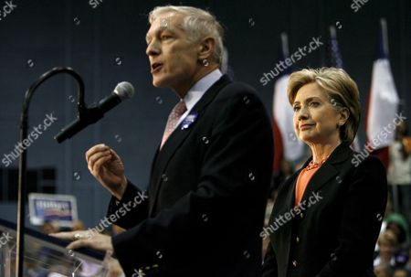 Us Senator and Democratic Presidential Hopeful Hillary Clinton (r) Listens to General Wesley Clark (l) Speak to a Group of Supporters During a Rally in Waco Texas Usa 29 February 2008 the Texas Primary is 04 March 2008