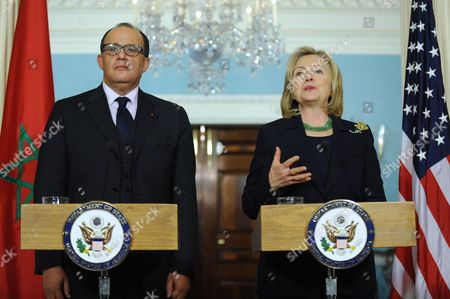 Us Secretary of State Hillary Clinton (r) and Moroccan Foreign Minister Taieb Fassi Fihri (l) Deliver Remarks to Members of the Media Following Their Bilateral Meeting at the State Department in Washington Dc Usa 23 March 2011 Secretary Clinton and Foreign Minister Fihri Discussed the Un Sanctioned No Fly Zone Over Libya the 23 March 2011 Bus Bomb in Jerusalem and the Situation in Japan United States Washington
