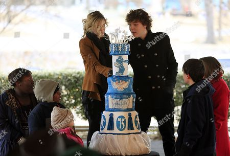 Riley Keough Left and Benjamin Keough Cut the Cake During the Celebration of what Would Have Been Entertainer Elvis Presley's 75th Birthday Near Graceland His Memphis Tennessee Usa Home 08 January 2010 the Keoughs Are Lisa Marie's Children - Elvis' Grandchildren Elvis Died at Age 42 in 1977 Thousands of Fans From Around the World Make Pilgrimages Each Year to Honor Their Hero United States Memphis