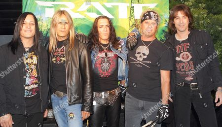 Stock Photo of Members of Us Rock Band Ratt (l-r) Robbie Crane Warren Demartini Stephen Pearcy Bobby Blotzer and Carlos Cavaso Pose For Photographers Prior to Their Cd Release Party at the Key Club in West Hollywood California Usa 21 April 2010 Ratt is About to Release Their New Album 'Infestation' Which is Their First Album in 11 Years United States West Hollywood