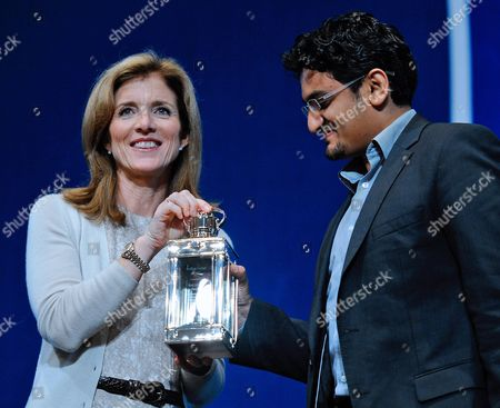 Stock Picture of Caroline Kennedy (l) President of the Kennedy Library Foundation (l) Presents the Profile in Courage Award to Wael Ghonim of Egypt For His Part in the Start the People's Revolution in Egypt at the John F Kennedy Library in Boston Massachusetts Usa 23 May 2011 United States Boston