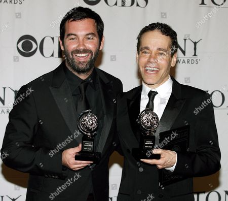 Duncan Sheik (l) and Steven Sater (r) Hold Their Tony Awards For 'Best Original Score (music And/or Lyrics) Written For the Theatre' For Their Show 'Spring Awakening' During the 61st Annual Tony Awards in New York New York On 10 June 2007