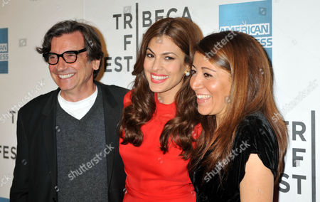 Stock Photo of (l-r) Us Actor and Director Griffin Dunne Actress Eva Mendes and American-iranian Director Massy Tadjedin Arrive For the Premiere of the Movie 'Last Night' During the 2011 Tribeca Film Festival in New York Usa 26 April 2011 the Tribeca Film Festival Runs Through 01 May 2011 United States New York
