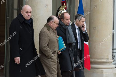 French Minister of Town and Country Planning, Rural Affairs and Local Authorities, Jean-Michel Baylet, French Prime Minister, Bernard Cazeneuve, French Minister of Justice, Keeper of the Seals, Jean-Jacques Urvoas and French Junior Minister for Higher Education and Research, Thierry Mandon leave after the weekly cabinet meeting at Elysee Palace