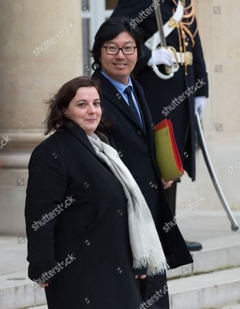 French Minister of Housing and Sustainable Homes, Emmanuelle Cosse and French Junior Minister for State reform and simplification, Jean-Vincent Place leave after the weekly cabinet meeting at Elysee Palace