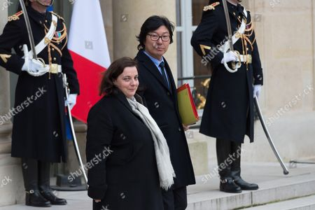 French Junior Minister for State reform and simplification, Jean-Vincent Place and French Minister of Housing and Sustainable Homes, Emmanuelle Cosse leave after the weekly cabinet meeting at Elysee Palace