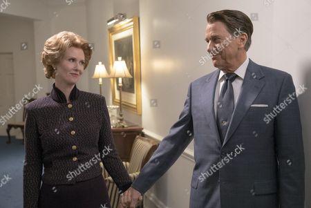 Cynthia Nixon (as Nancy Reagan) and Tim Matheson (as Ronald Reagan)