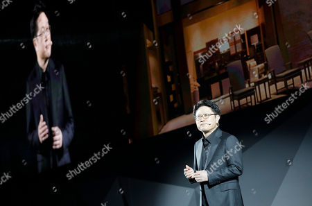 Stock Photo of Skott Ahn, President and Chief Technology Officer for LG Electronics, speaks during an LG news conference before CES International, in Las Vegas