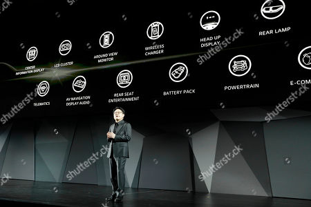 Skott Ahn, President and Chief Technology Officer for LG Electronics, speaks during an LG news conference before CES International, in Las Vegas